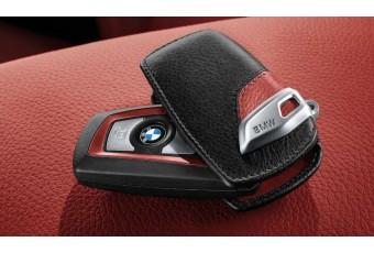 Шкіряний чохол BMW Sport для ключів зі сталевим затиском, чорний / червоний