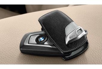 Шкіряний чохол BMW для ключів зі сталевим затиском, чорний