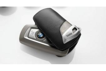 Шкіряний чохол BMW для ключів зі сталевим затиском, коричневий