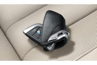 Шкіряний футляр для ключів BMW зі сталевими затіском, чорний