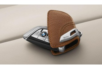 Шкіряний футляр BMW для ключів зі сталевим затиском, коричневий